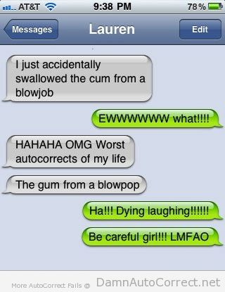 blowpop swallowing gum funny auto correct