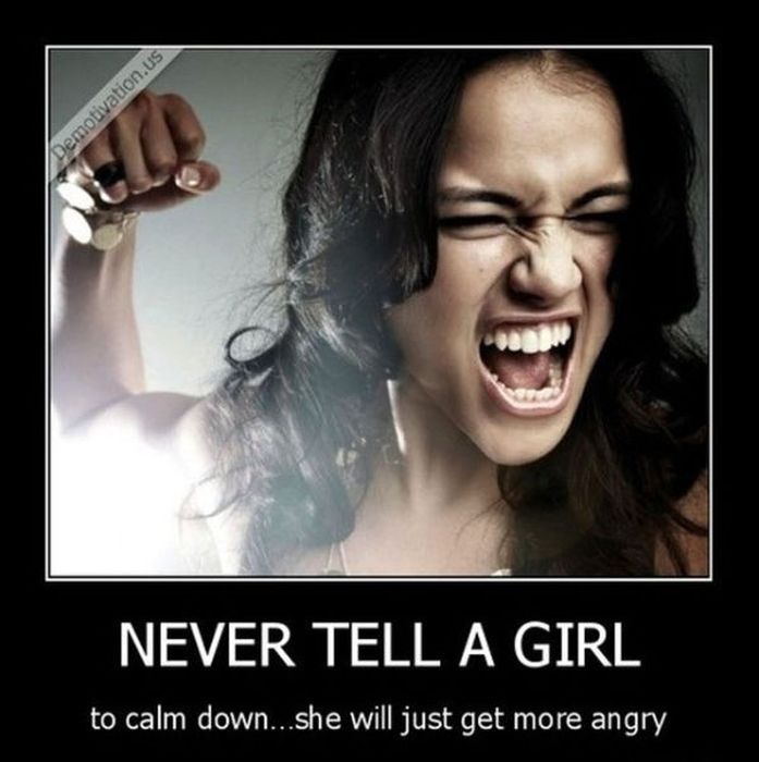 tell a girl to calm down